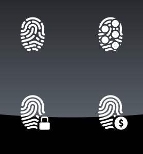 Finger scanner icons on black background.